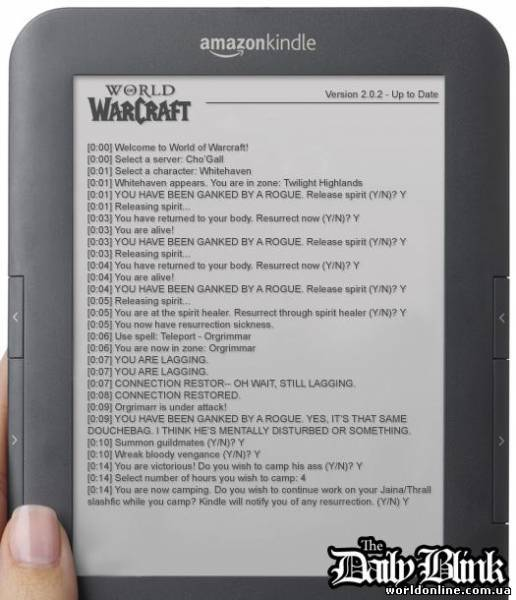 Текстовая версия MMORPG World of Warcraft для Amazon Kindle